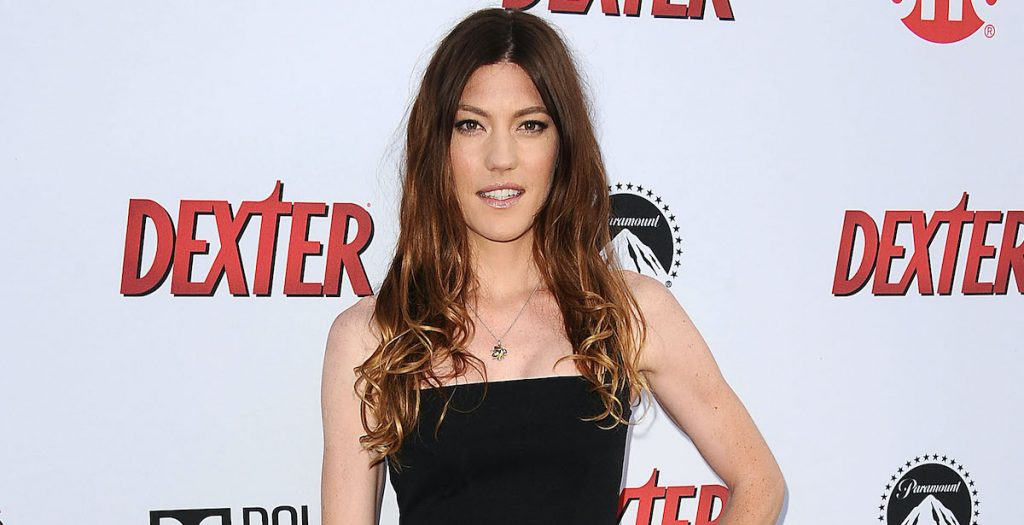 Jennifer Carpenter poses on the red carpet at an event for the show 'Dexter,' on which she plays Debra Morgan