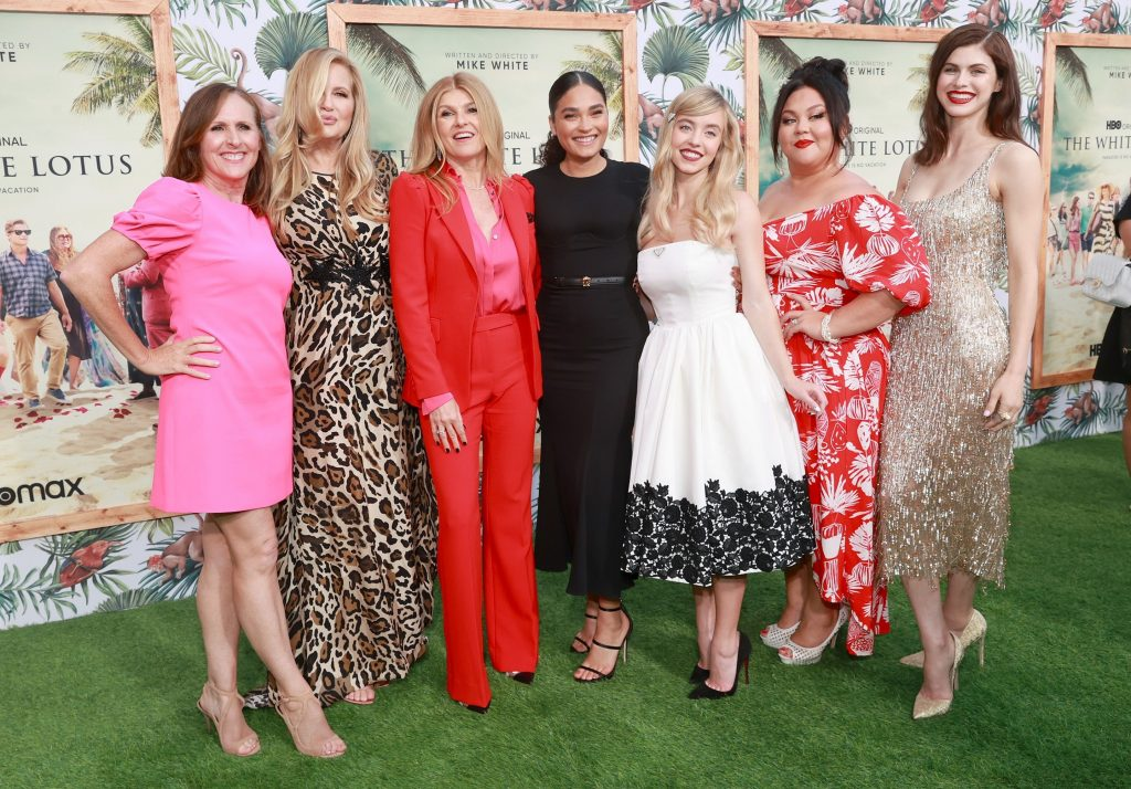 Some of The White Lotus cast posing for photographers Molly Shannon Jennifer Coolidge Connie Britton, Brittany O'Grady, Sydney Sweeney, Jolene Purdy and Alexandra Daddario