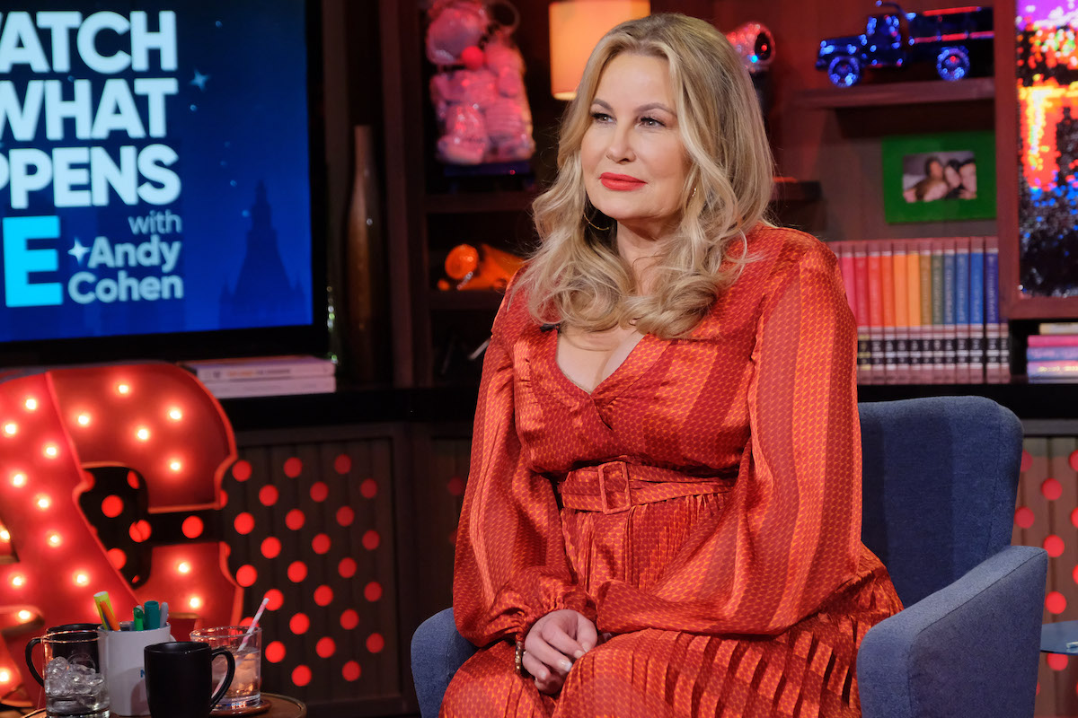 Jennifer sits in a blue chair on 'Watch What Happens Live with Andy Cohen'