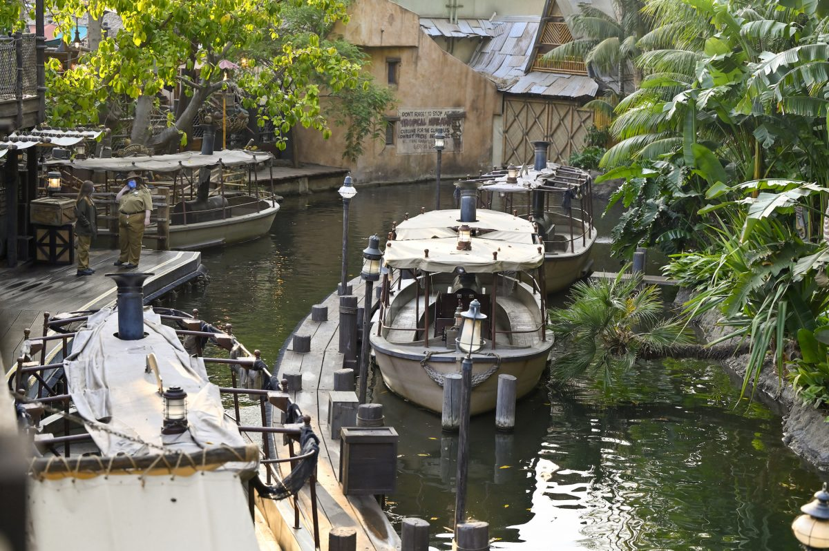 Jungle Cruise in Adventureland inside Disneyland in Anaheim, CA, with the picture featuring a boat along the river