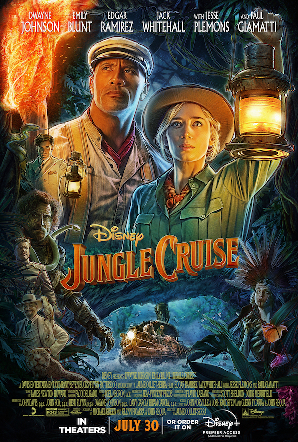 A poster of Disney's 'Jungle Cruise,' featuring Emily Blunt and Dwayne 'The Rock' Johnson