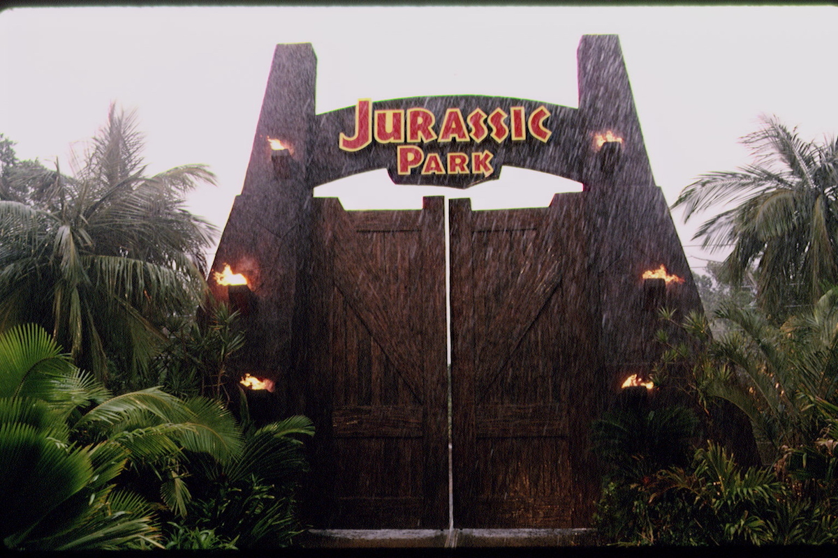 The iconic Jurassic Park gate in a scene from 'Jurassic Park'