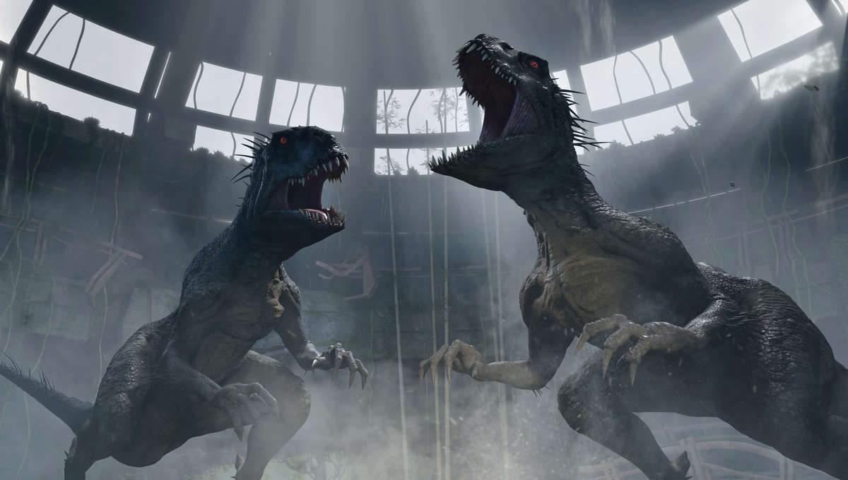 Two dinosaurs roar amid wreckage in a scene from 'Jurassic World: Camp Cretaceous'