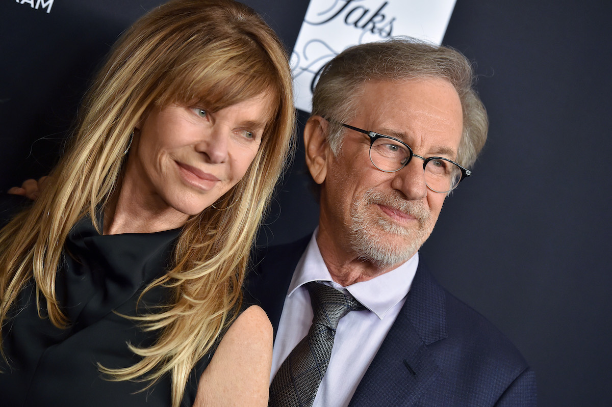 Kate Capshaw and Steven Spielberg pose on the red carpet