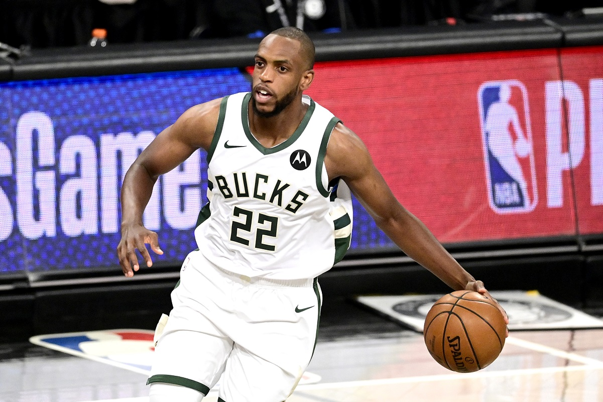 Khris Middleton of the Milwaukee Bucks handling the ball during a game against the Brooklyn Nets