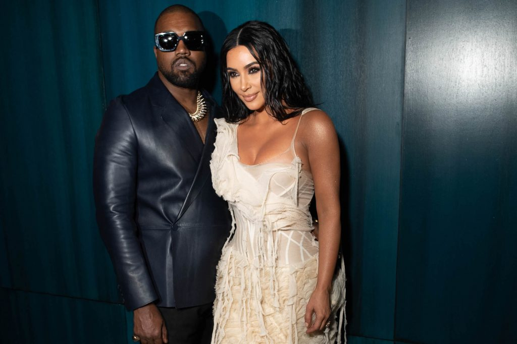 Kim Kardashian West and Kanye West attending the 2020 Vanity Fair Oscar Party