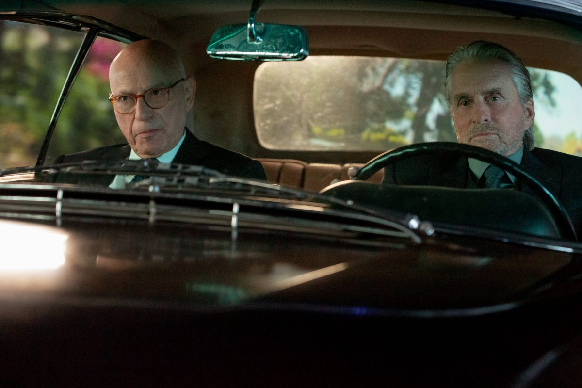 Norman and Sandy sit in Sandy's 1969 Mercedes 280 SE Cabriolet in a sxcene for 'The Kominsky Method'
