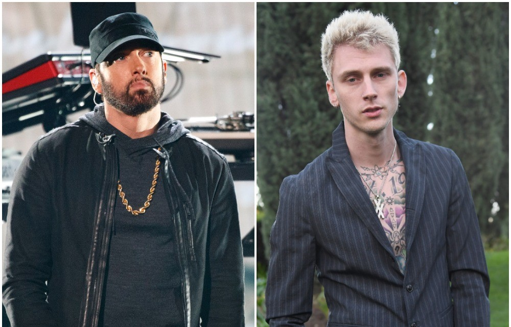 (L): Eminem on stage at The 92nd Annual Academy Awards, (R): Machine Gun poses for photo at Roc Nation THE BRUNCH