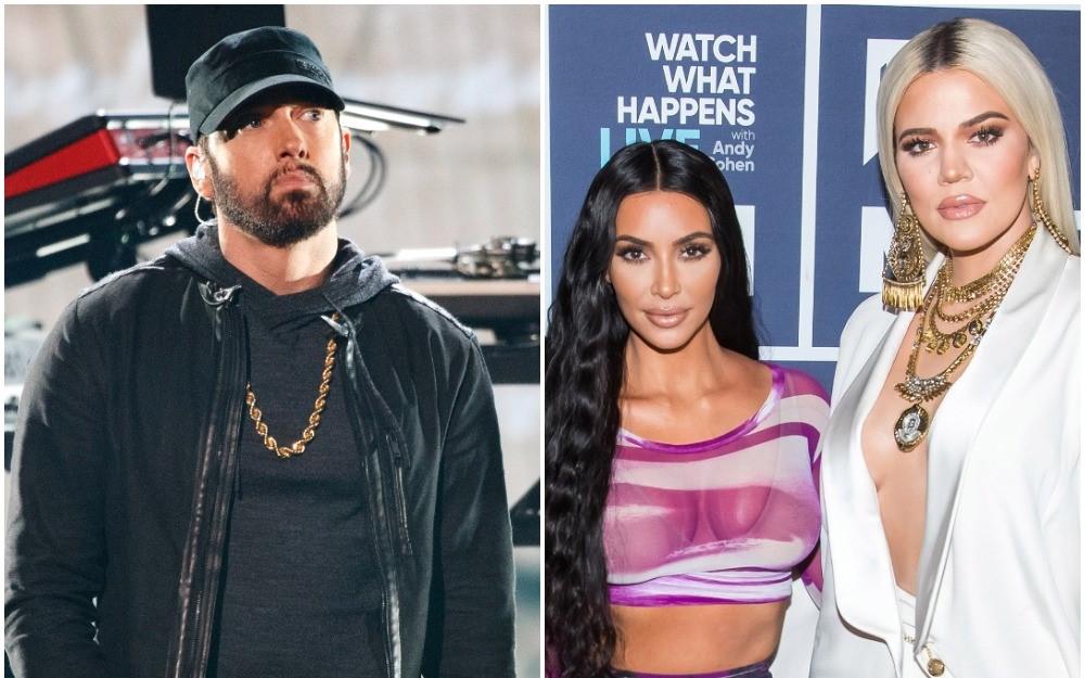 (L) Eminem onstage at the Academy Awards, (R) Kim Kardashian West and Khloe Kardashian pose together before doing 'WWHL'