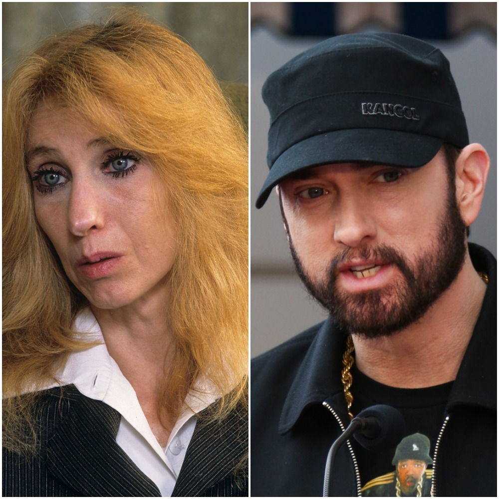 (L): Eminem's mother Debbie Mathers during a portrait session at her home, (R): Eminem speaking at event honoring 50 Cent