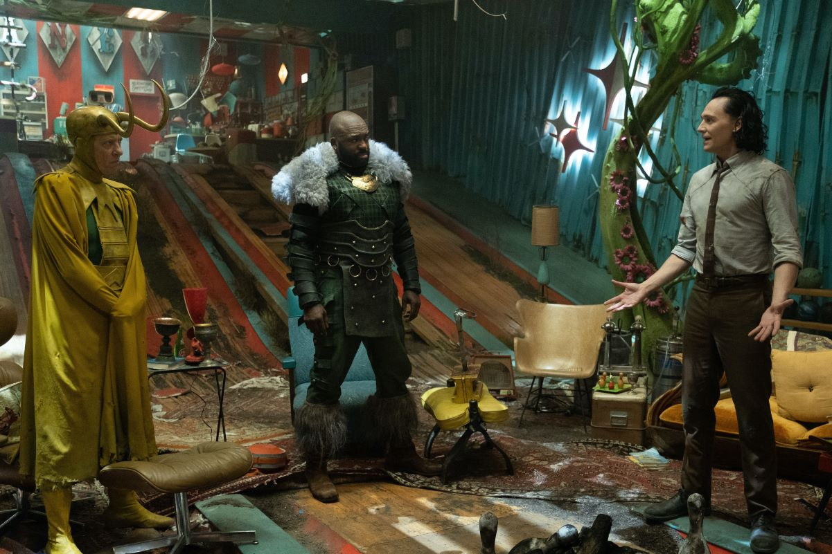 L-R: Richard E. Grant, DeObia Oparei, and Tom Hiddleston in 'Loki'
