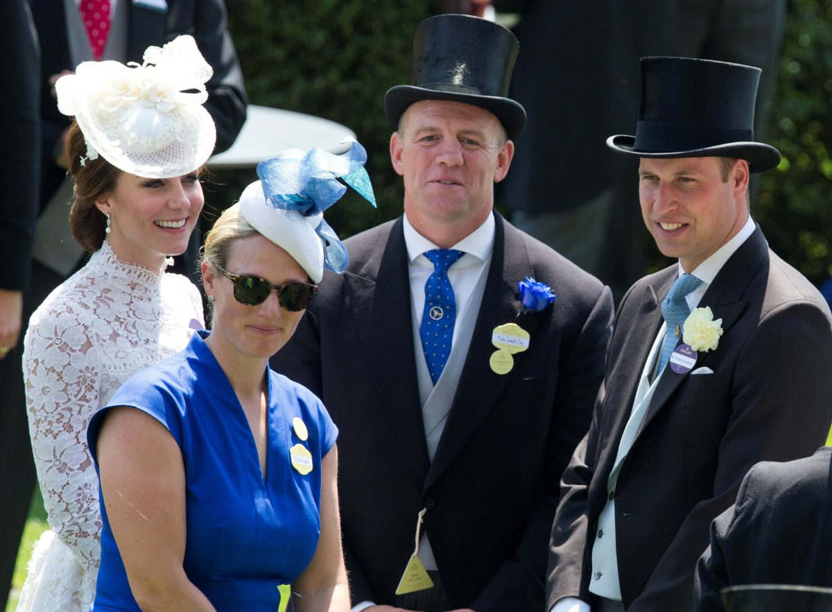 (L to R): Kate Middleton, Zara Phillips, Mike Tindall, and Prince William smiling together at Royal Ascot