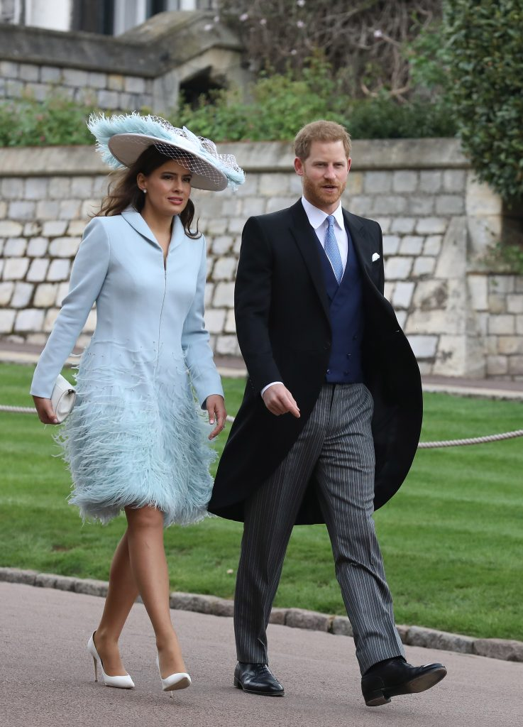 Lady Frederick Windsor arriving to St. George's Chapel with Prince Harry ahead of the wedding of Lady Gabriella Windsor