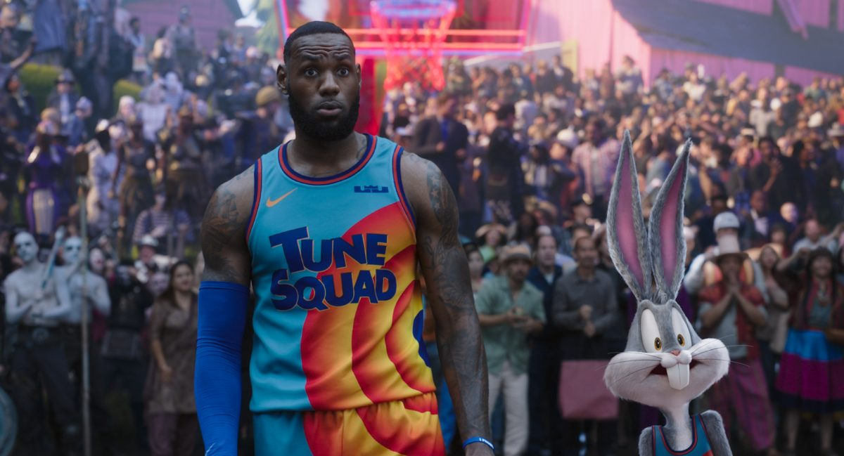 LeBron James and Bugs Bunny stare in horror