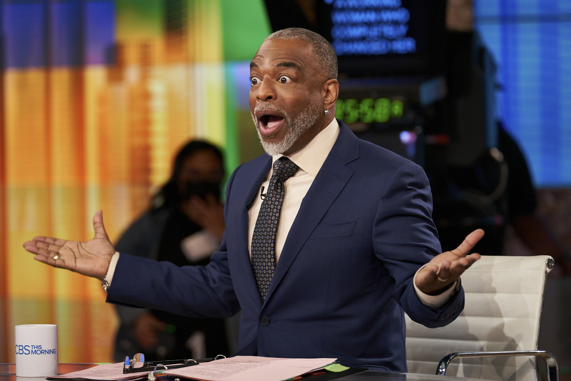 Actor LeVar Burton wears a suit and a mock surprise expression with his arms outstretched as he guest-hosts 'CBS This Morning' in May, 2021