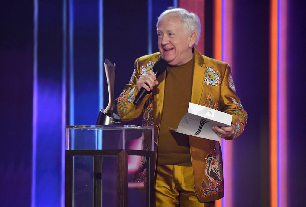 Leslie Jordan speaks on stage at the 56th Academy of Country Music Awards