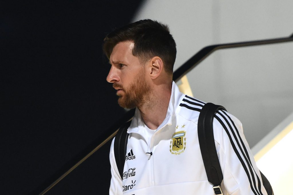 Lionel Messi steps off Argentina's private jet in Russia in 2018