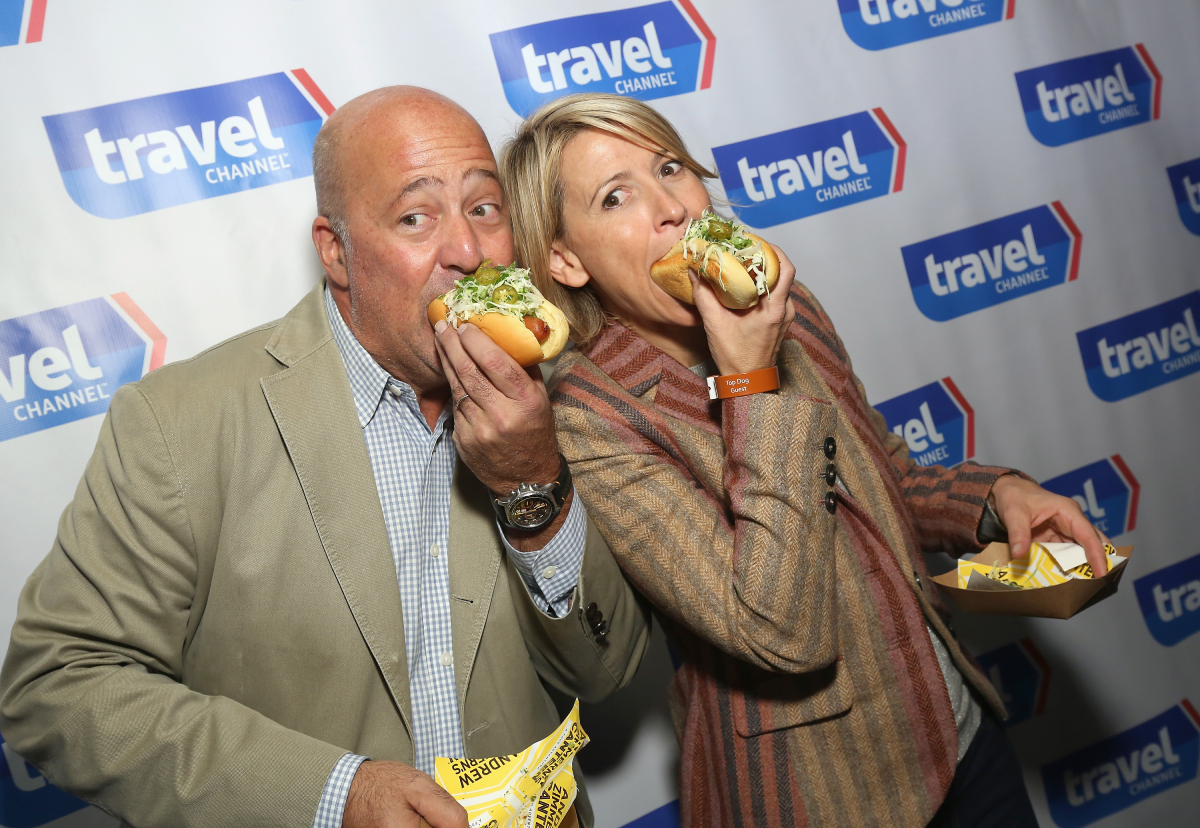 Andrew Zimmern and Martha Stewart attend at Top Dog: A NY Hot Dog Competition Hosted By Andrew Zimmern, part of LOCAL presented by Delta Air Lines, during Food Network & Cooking Channel New York City Wine & Food Festival presented By FOOD & WINE at The Standard Highline on October 17, 2015