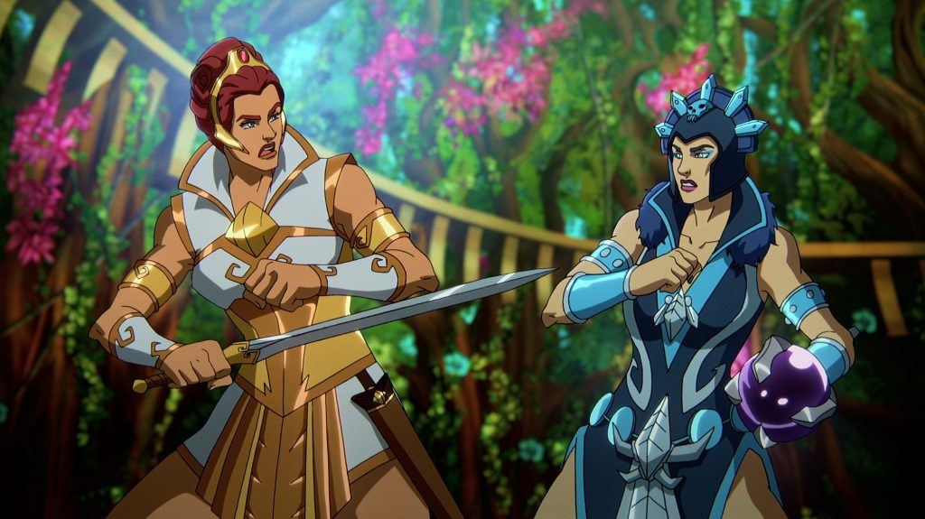 Teela draws her sword at Evil-Lyn in 'Masters of the Universe: Revelation'
