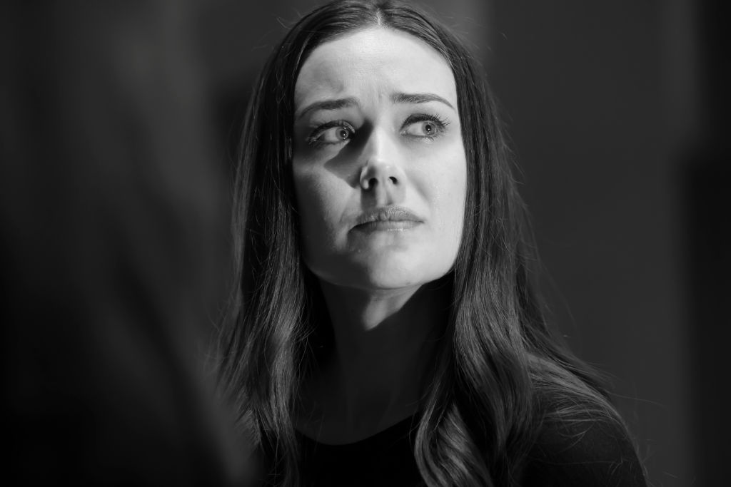 Megan Boone as Liz Keen ina. black and white close-up of her concerned face.