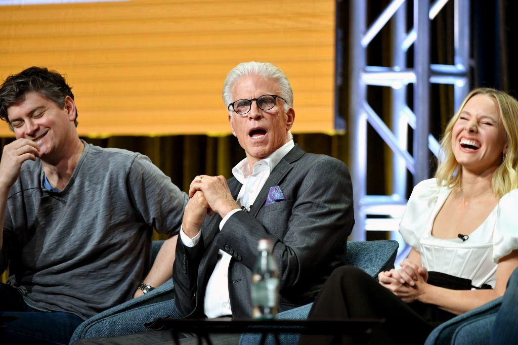 Michael Schur, Ted Danson, and Kristen Bell of 'The Good Place' speaking at an NBC 2019 Summer TCA Press Tour segment