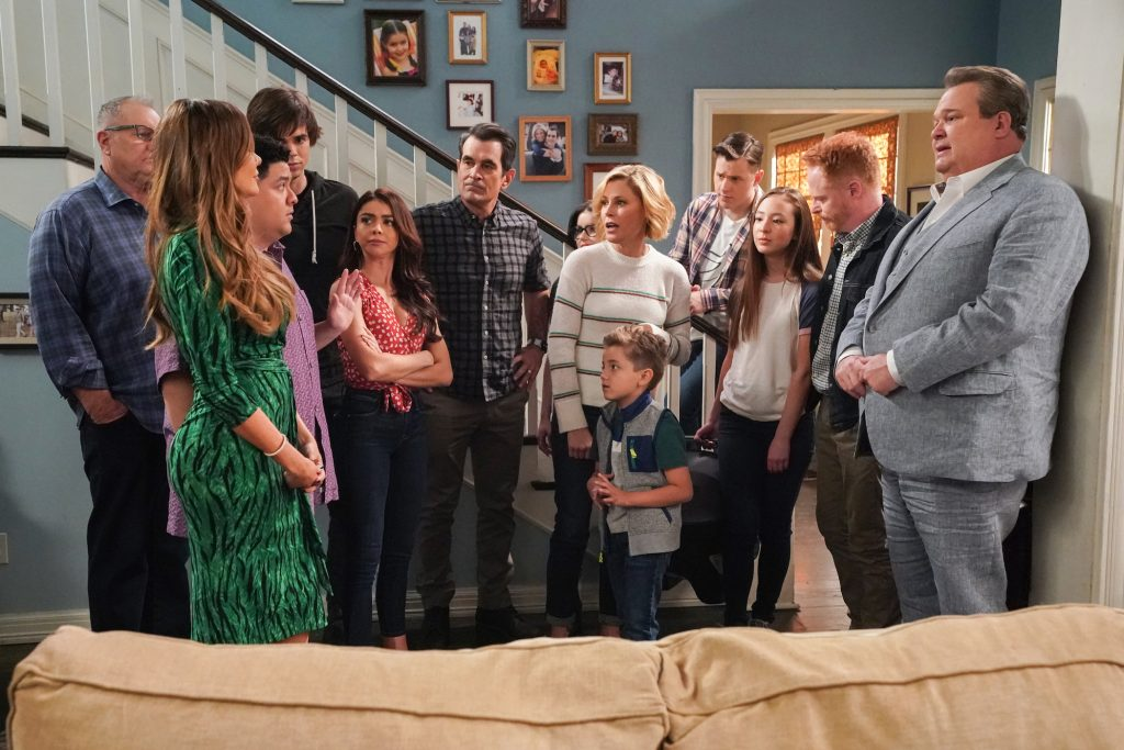 'Modern Family' episodes titled 'Finale Part 1/Finale Part 2' the cast in the Dupnhy house