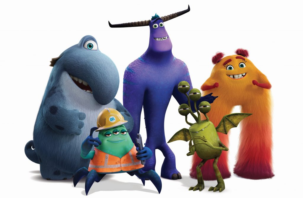 Disney and Pixars Monsters Inc Sequel series, Monsters at Work character art with Fritz, Cutter, Tylor, Duncan, and Val