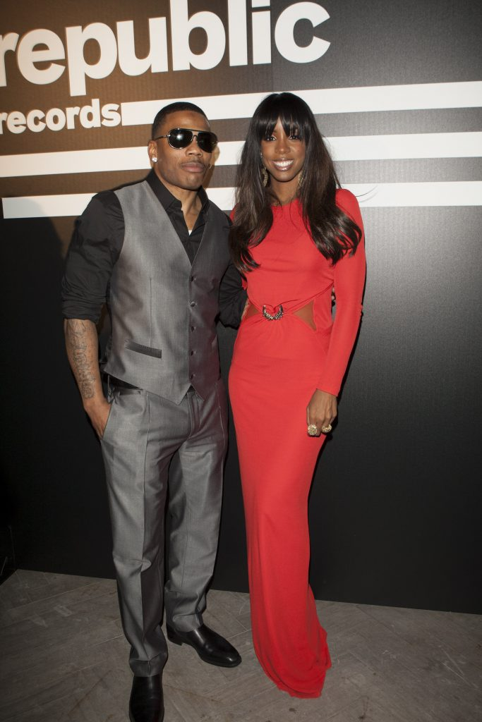 Nelly and Kelly Rowland pose for photo together at Republic Records Post Grammy Party