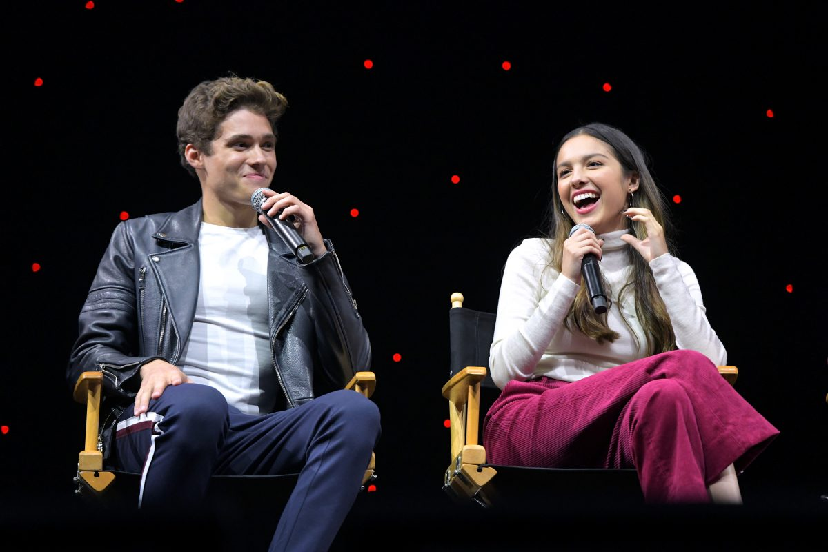 'High School Musical: The Musical: The Series' cast members Joshua Bassett and Olivia Rodrigo sitting together during a panel