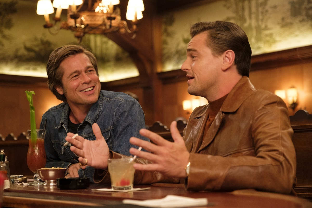 Once Upon a Time in Hollywood: Leonardo DiCaprio talks to Brad Pitt in a bar