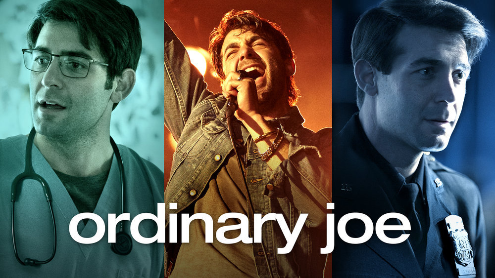 the lead actor for ordinary joe appears in three different costumes--a nurse, rock star, and police officer