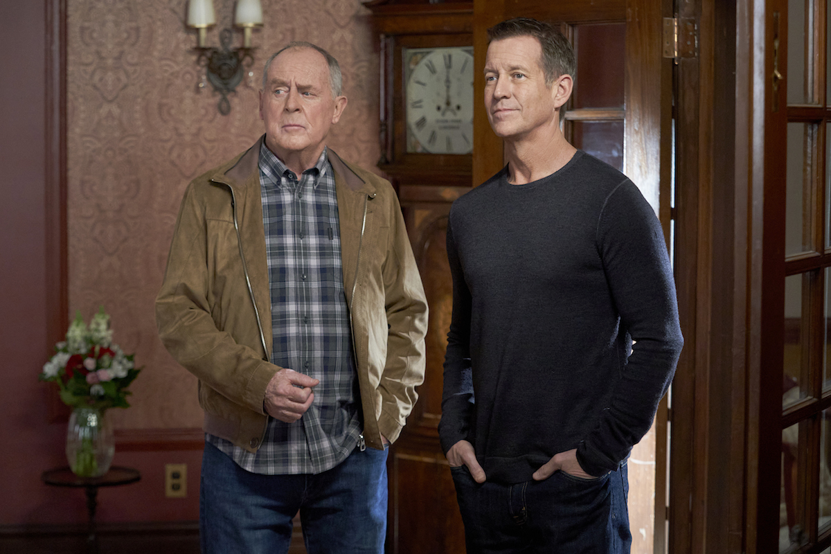 Peter MacNeil and James Denton standing next to each other in an episode of 'Good Witch'
