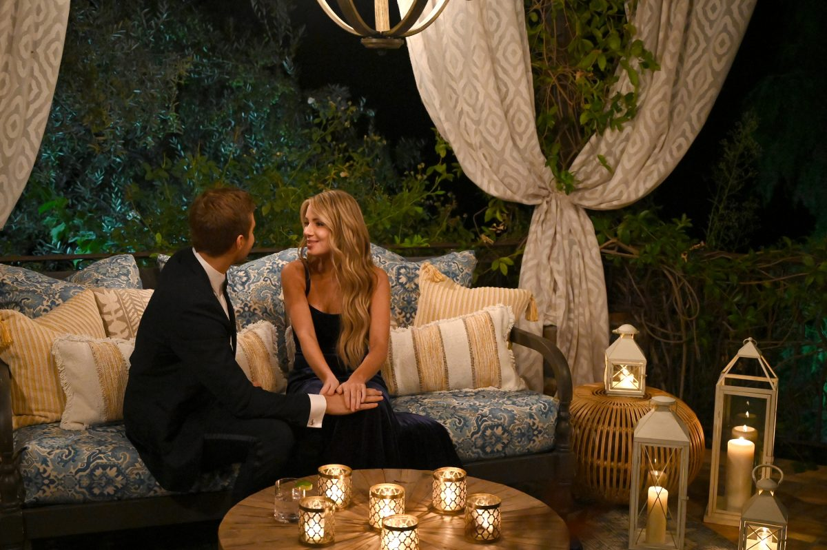 Peter Weber and 'Bachelor in Paradise' contestant Victoria Paul sitting together on 'The Bachelor'