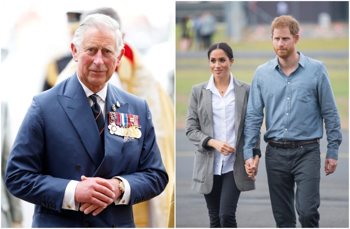 Photo of Prince Charles next to photo of Meghan Markle and Prince Harry