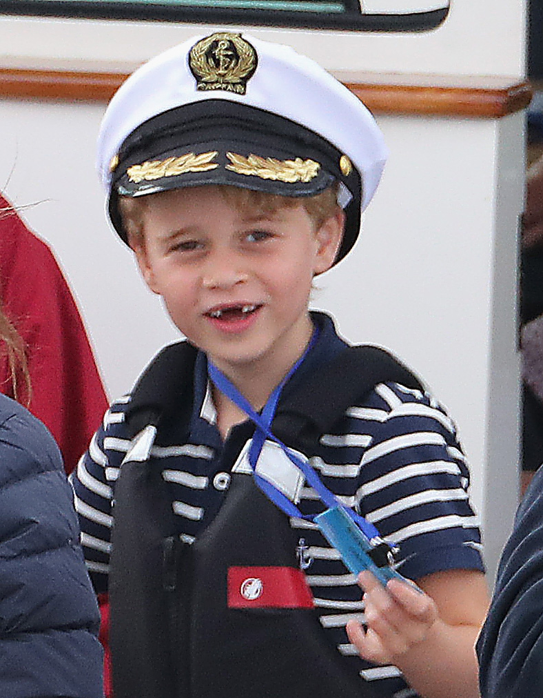 Prince George donning a sailor cap at The Royal Foundation in the inaugural King's Cup regatta