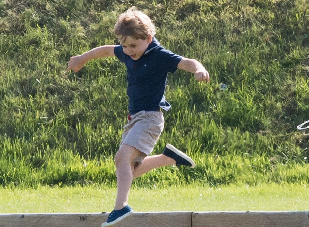 Prince George playing and leaping in the air at Maserati Royal Charity Polo Trophy