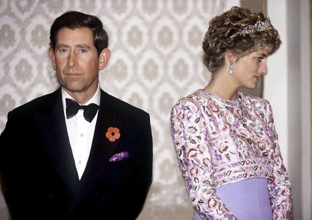 Princess Diana turning away from Prince Charles