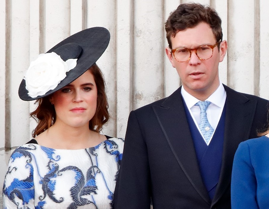 Princess Eugenie and Jack Brooksbank standing next to each other for flypast on the Buckingham Palace balcony