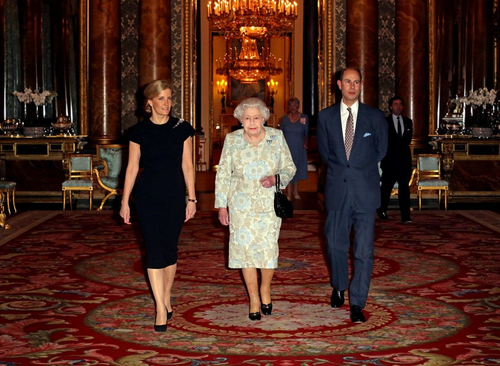 Queen Elizabeth II with Sophie, Countess of Wessex and Prince Edward during reception at Buckingham Palace