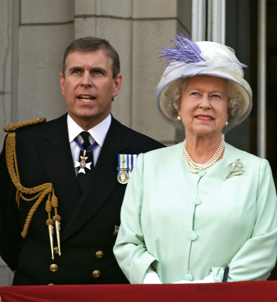Queen Elizabeth ll and Prince Andrew watch the flypast on the balcony of Buckingham Palace