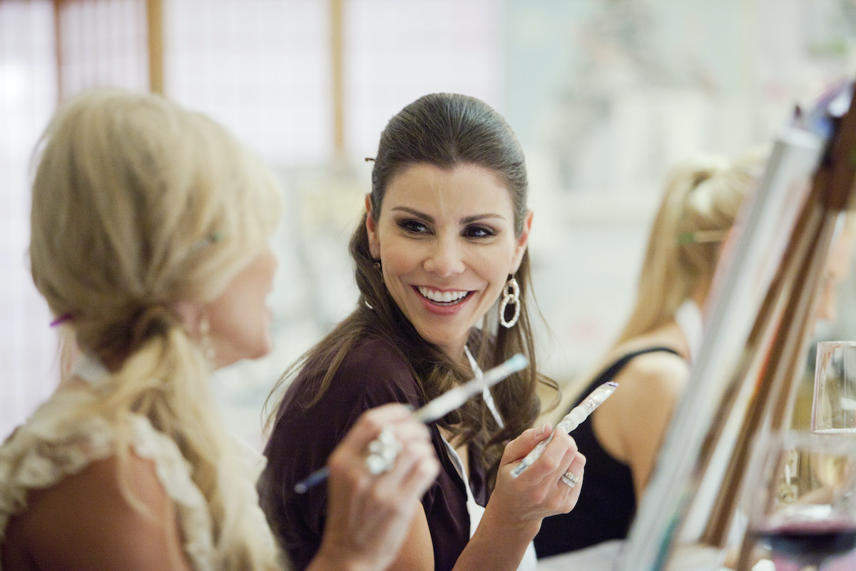The Real Housewives of Orange County throwback from season 7 with Tamra Barney [Judge] and Heather Dubrow at a painting class