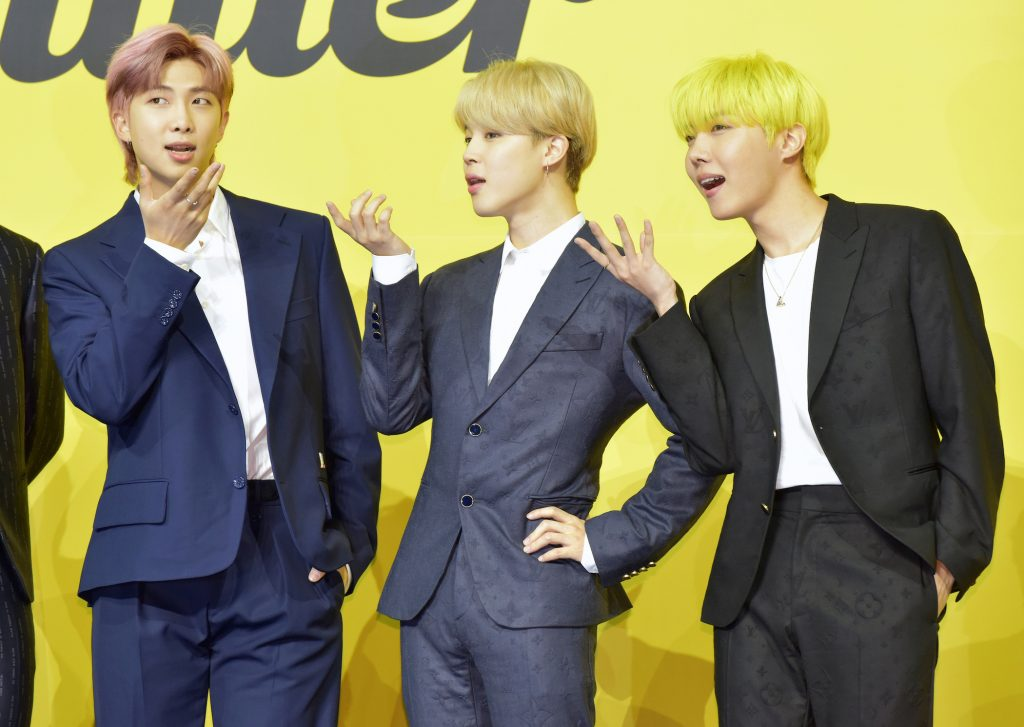 RM, Jimin, J-Hope of BTS attend a press conference for BTS's new digital single 'Butter'