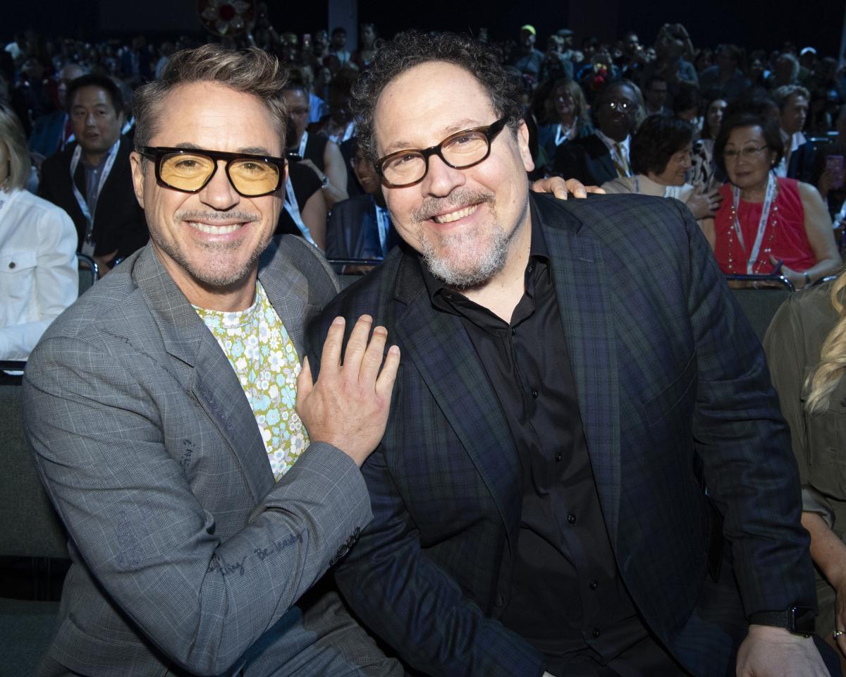 Robert Downey Jr. and Jon Favreau at the Ultimate Disney Fan Event on August 23, 2019