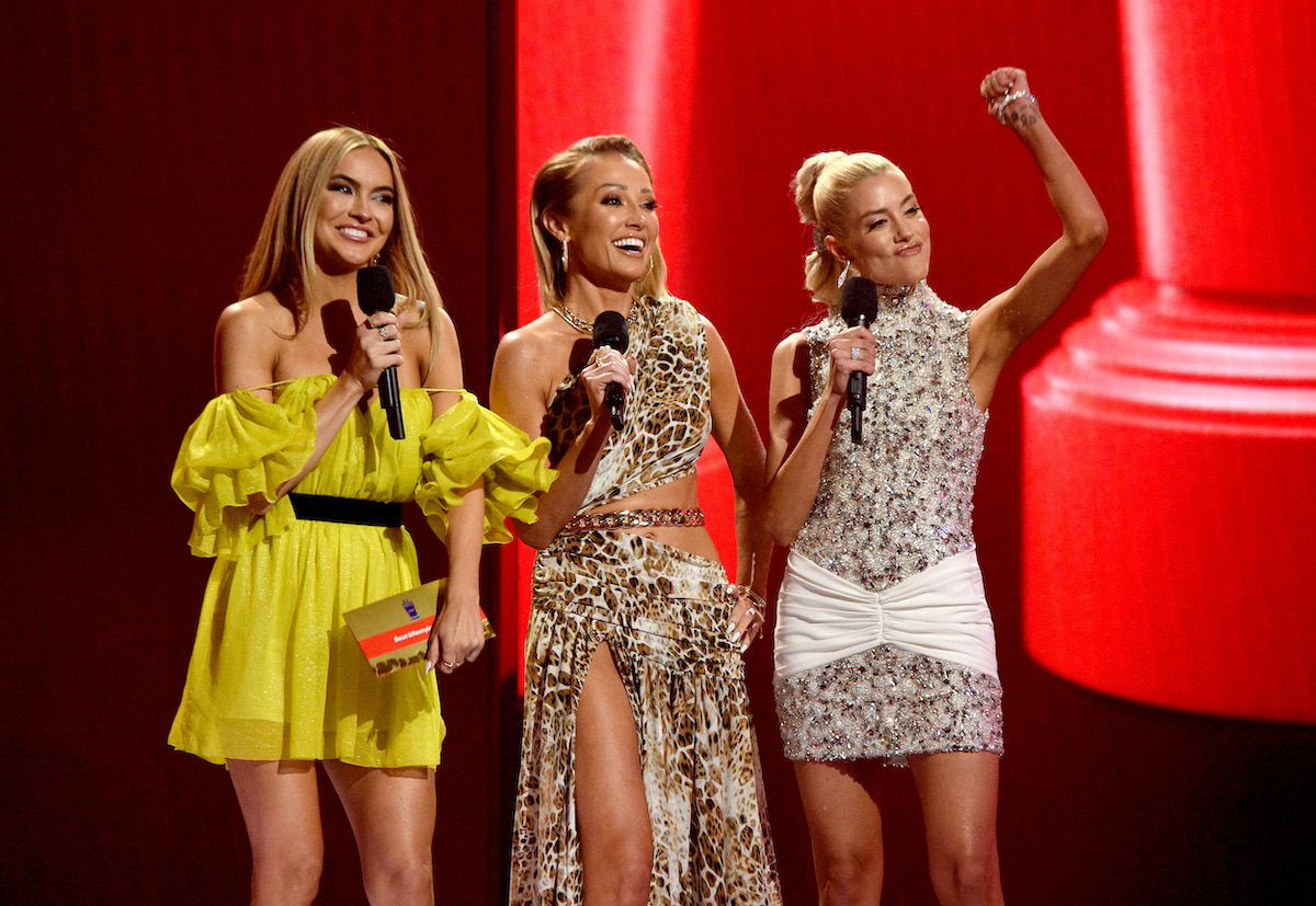 Chrishell Stause, Mary Fitzgerald, and Heather Rae Young from Selling Sunset appear during the 2021 MTV Movie & TV Awards