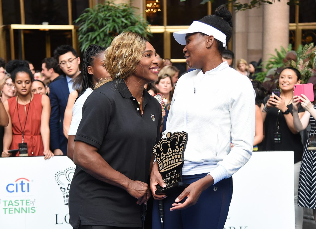 Serena Williams and Venus Williams attend the 2019 Palace Invitational. Venus Williams' height makes her stand taller over Serena Williams.