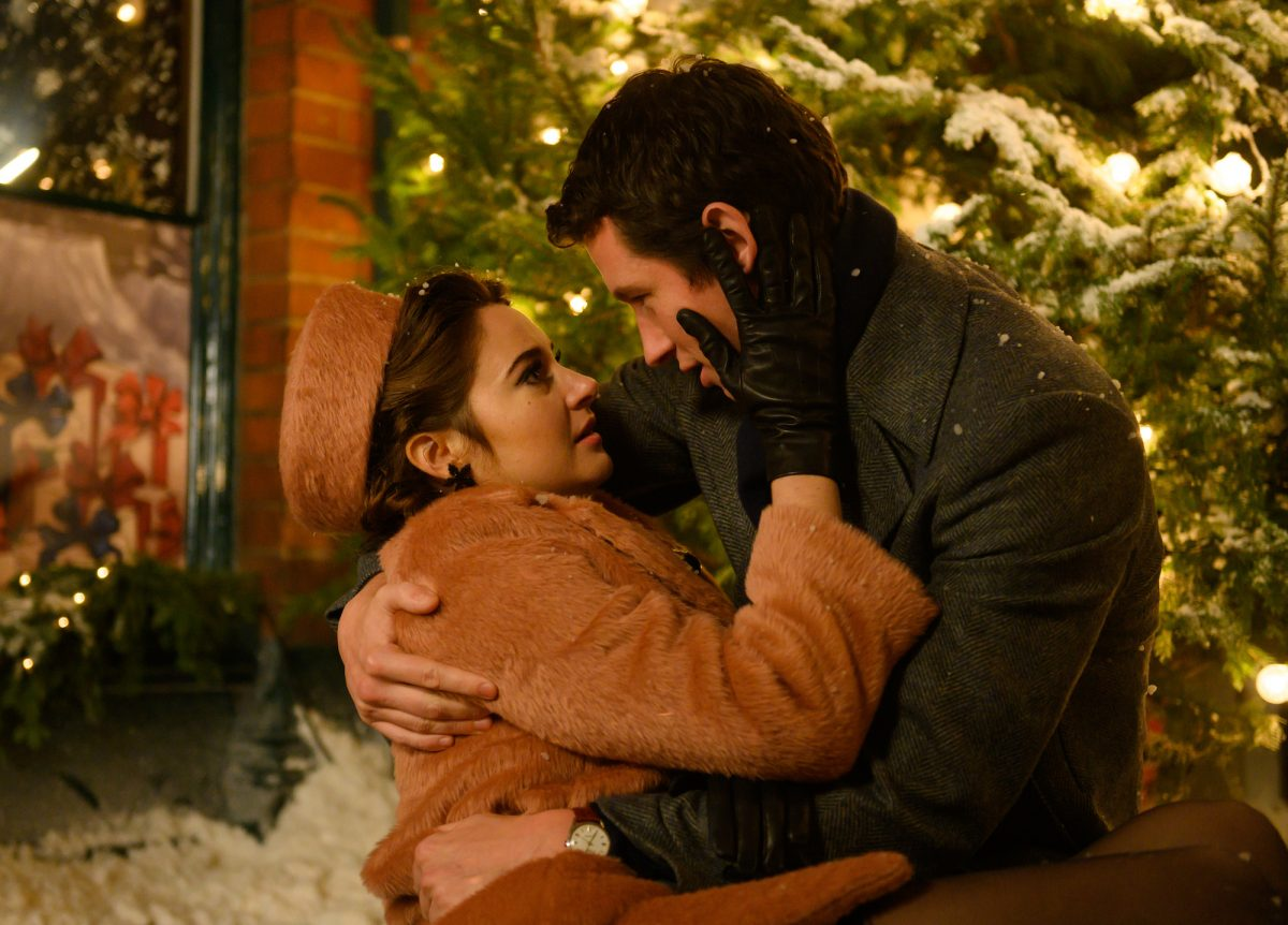 Last Letter From Your Lover: Shailene Woodley and Callum Turner embrace in the snow
