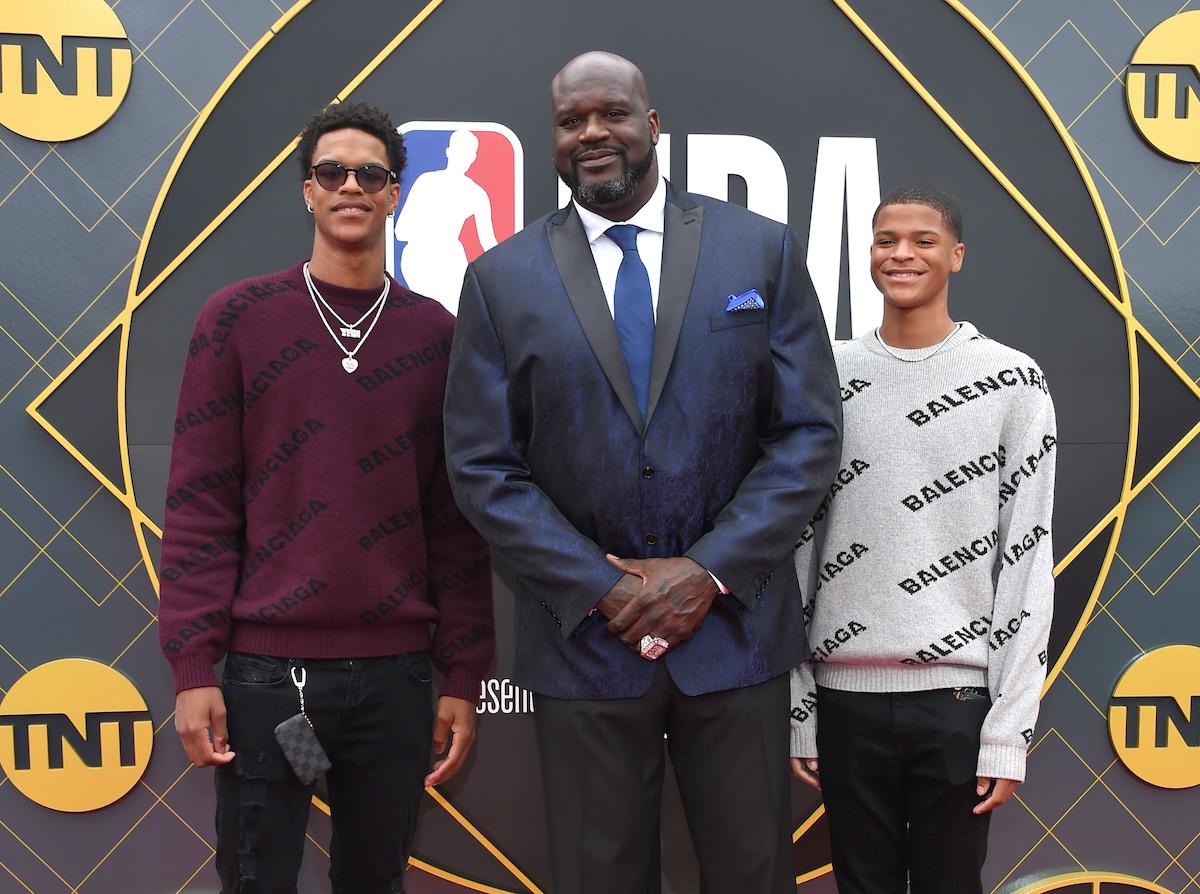Shaquille O'Neal and his sons Shareef O'Neal and Shaqir O'Neal at the 2019 NBA Awards at Barker Hangar