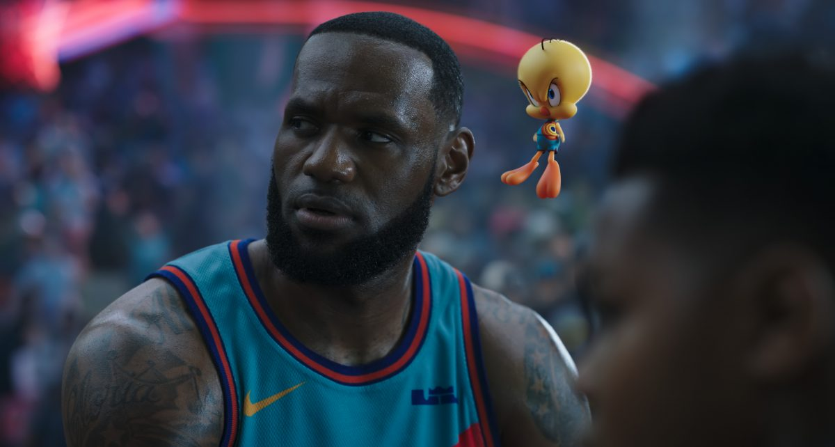 Space Jam: A New Legacy -- LeBron James and Tweety scowl