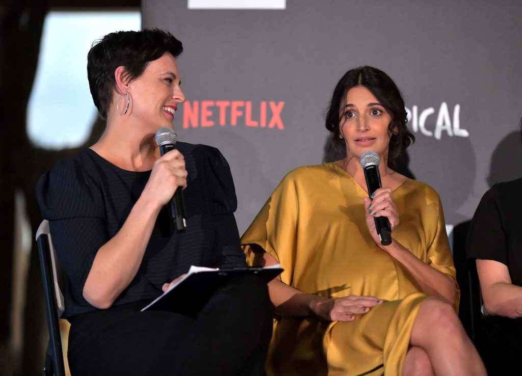 """(L-R) Stacey Wilson Hunt and Robia Rashid speak onstage during Netflix """"Atypical"""" Season 3 special screening at Natural History Museum on October 28, 2019 in Los Angeles, California."""