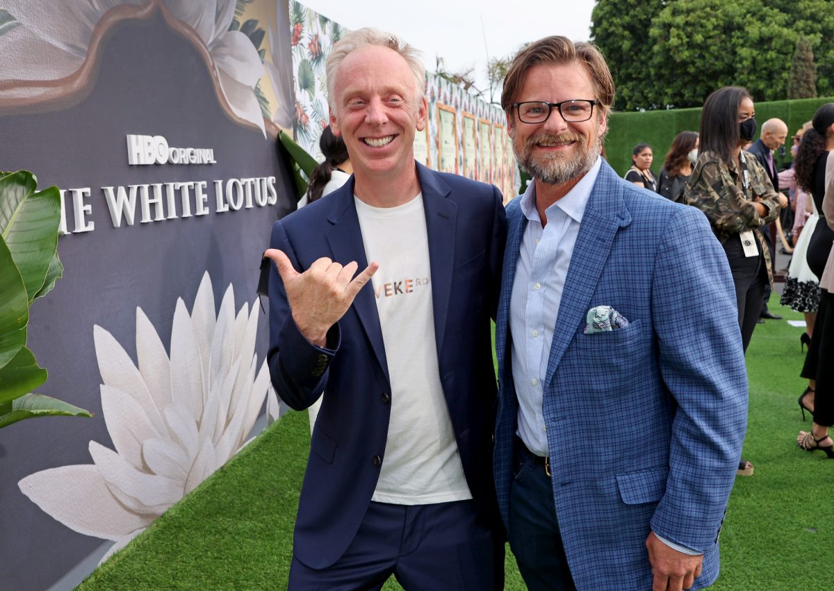 Director Mike White and actor Steve Zahn smiling for photographers at The White Lotus Season 1 premiere